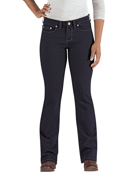 Women's Curvy Fit Boot Cut Leg Denim Jean - Stonewashed Dark Blue (DSW)