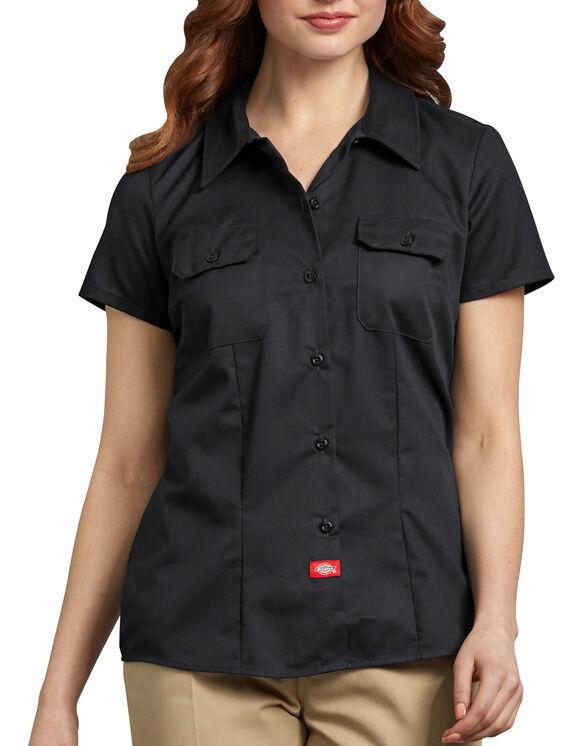Chemise de travail à manches courtes pour femmes - Noir (BK)