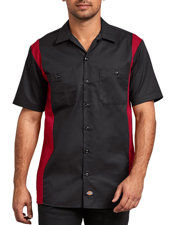 Two-Tone Short Sleeve Work Shirt - BLACK/ENGLISH RED (BKER)