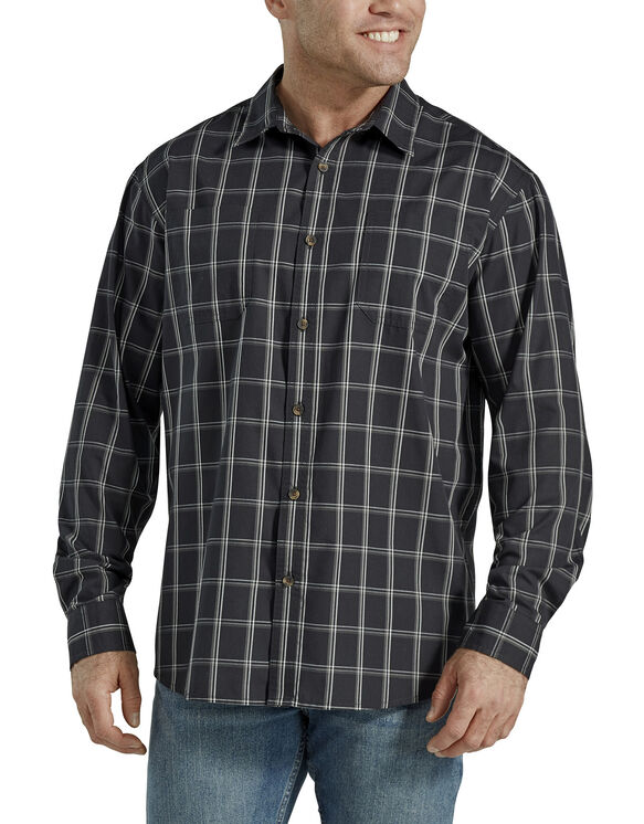 Relaxed Fit Icon Long Sleeve Rinsed Plaid Shirt - Black Grey Plaid (PLY)