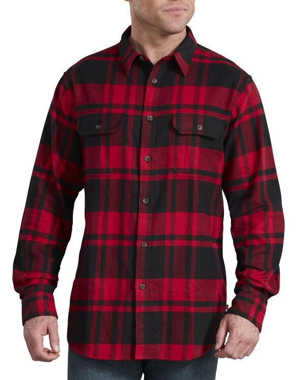Heavyweight Long Sleeve Flannel Shirt - Black English Red Plaid (LHP)