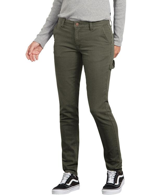Pantalon menuisier en coutil extensible et adouci par traitement pour femmes - Moss Green (RMS)