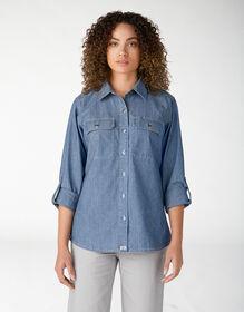 Women's Long Sleeve Chambray Roll-Tab Work Shirt - Stonewashed Light Blue (LSW)