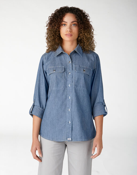 Chemise de travail en chambray à manches longues retroussables pour femmes - Stonewashed Light Blue (LSW)
