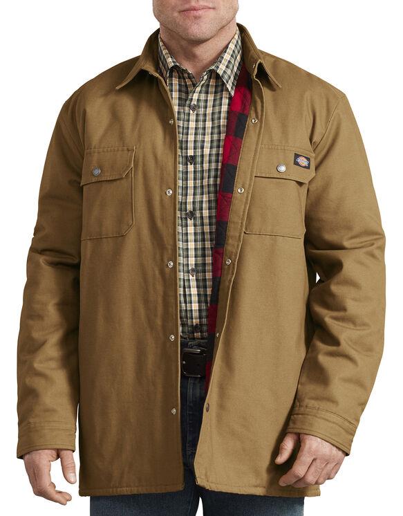 Veste-chemise doublée à motif tartan - Coutil brun (BD)