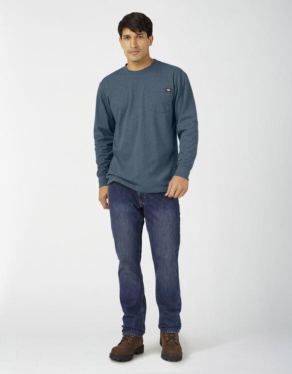 Long Sleeve Heathered Heavyweight Pocket T-Shirt - Baltic Blue (BUD)