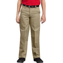 Boys' Classic Fit Straight Leg Flat Front Pants, 8-20 - Military Khaki (KH)