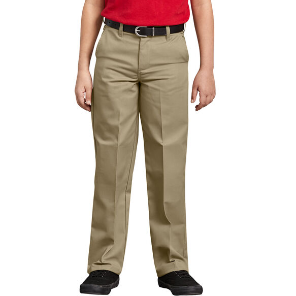Boys' Classic Fit Straight Leg Flat Front Pants, 8-20 - Military Khaki (KH)