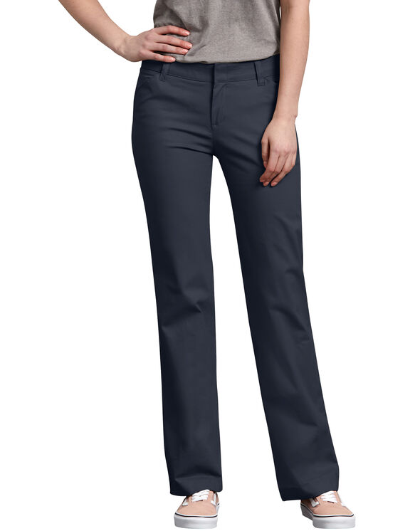 Women's Relaxed Straight Stretch Twill Pants - Dark Navy (DN)