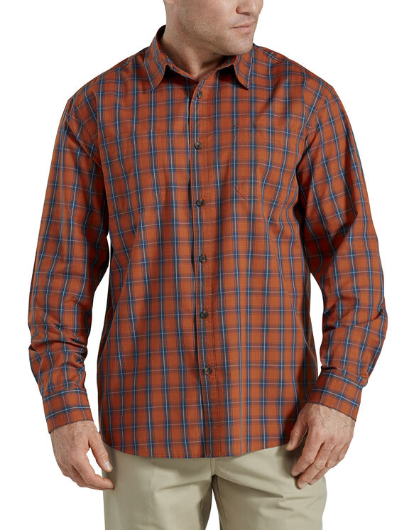 Relaxed Fit Icon Long Sleeve Rinsed Plaid Shirt - Gingerbread Dark Navy Plaid (BVP)