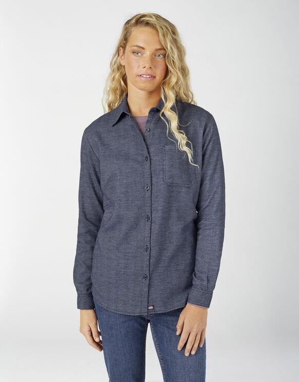 Women's Long Sleeve Plaid Shirt - Blue Two Tone Herringbone (LTH)