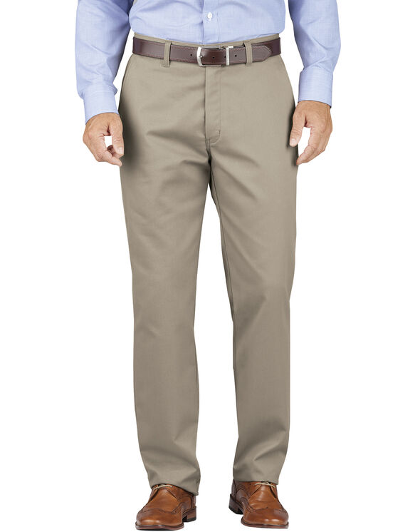 Relaxed Fit Tapered Leg Comfort Waist Khaki Pants - Desert Khaki (RDS)