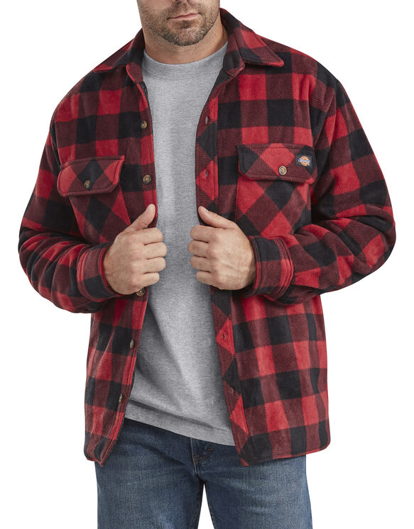 Relaxed Fit Icon Micro Fleece Quilted Shirt Jacket - Black Red Plaid (NEB)
