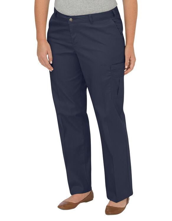 Pantalon cargo décontracté de qualité supérieure à jambe droite pour femmes (Plus) - Dark Navy (DN)
