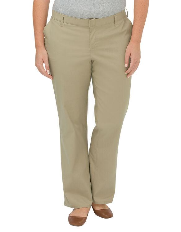 Women's Premium Relaxed Straight Flat Front Pants (Plus) - Desert Khaki (DS)