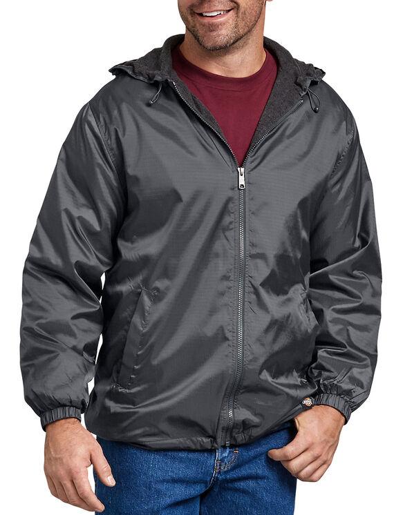 Fleece Lined Hooded Nylon Jacket - Charcoal Gray (CH)