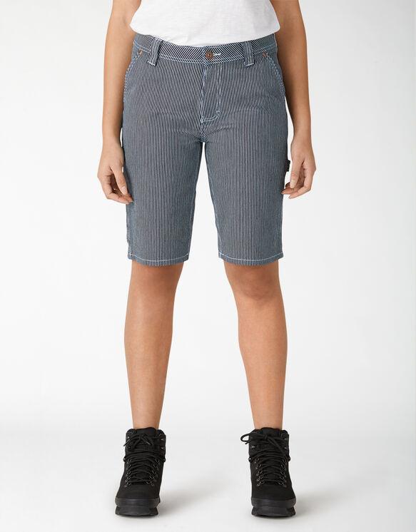 Women's Hickory Stripe Carpenter Shorts - Blue White Hickory Stripe (RHS)