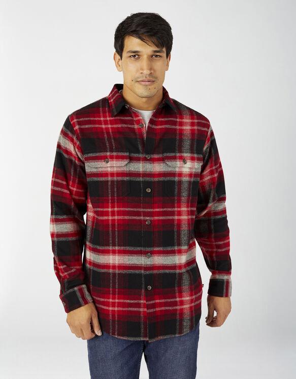 Heavyweight Long Sleeve Flannel Shirt - English Red Plaid (E1P)