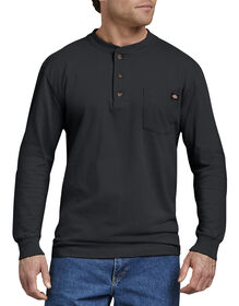 Long Sleeve Heavyweight Henley Shirt - Black (BK)