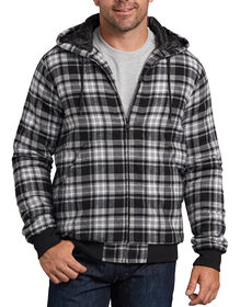Dickies X-Series Modern Fit Quilted Bomber Shirt Jacket - White Gray Plaid (OTP)