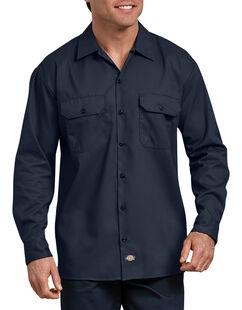 FLEX Relaxed Fit Long Sleeve Twill Work Shirt - Dark Navy (DN)