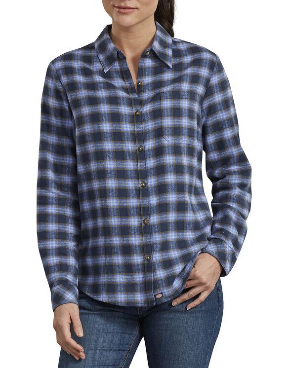 Women's Long Sleeve Plaid Shirt - Navy Violet Plaid (VVP)