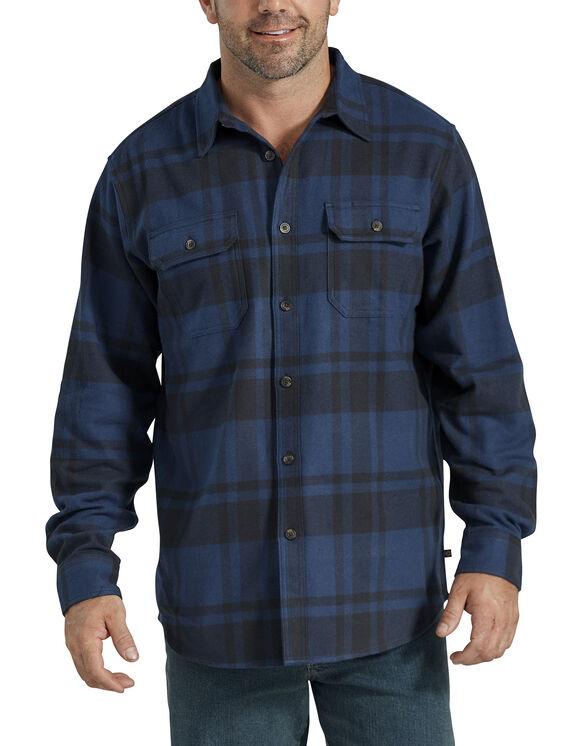 Chemise à manches longues en flanelle épaisse - Navy Black Plaid (YAP)