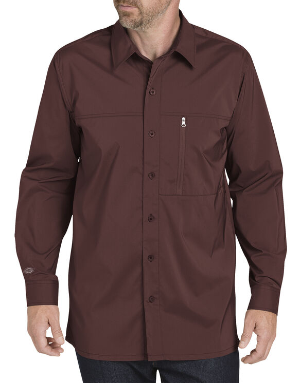 Long Sleeve Cooling Shirt with Zip Pocket - Cane Red (CN)