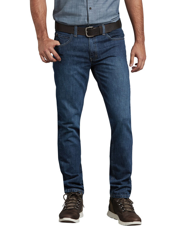 Dickies X-Series Slim Fit Tapered Leg 5-Pocket Denim Jeans - Medium Indigo Blue (HMI)