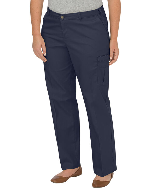 Women's Premium Relaxed Straight Cargo Pants (Plus) - Dark Navy (DN)