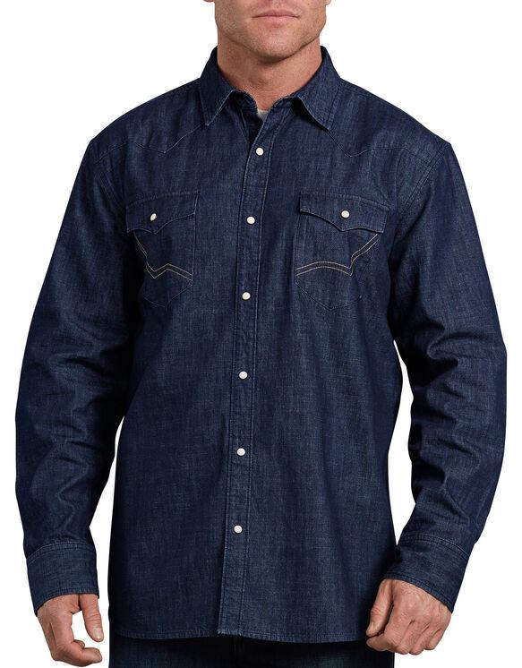 Chemise emblématique de style western en denim, coupe décontractée - Bleu indigo rincé (RNB)