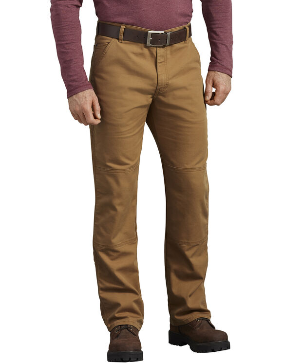 Pantalon FLEX en coutil à genoux renforcés de coupe standard - Stonewashed Brown Duck (SBD)