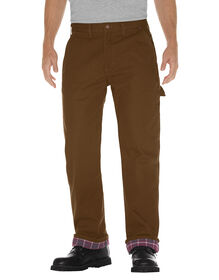 Relaxed Straight Fit Flannel-Lined Carpenter Duck Jeans - Timber Brown (RTB)
