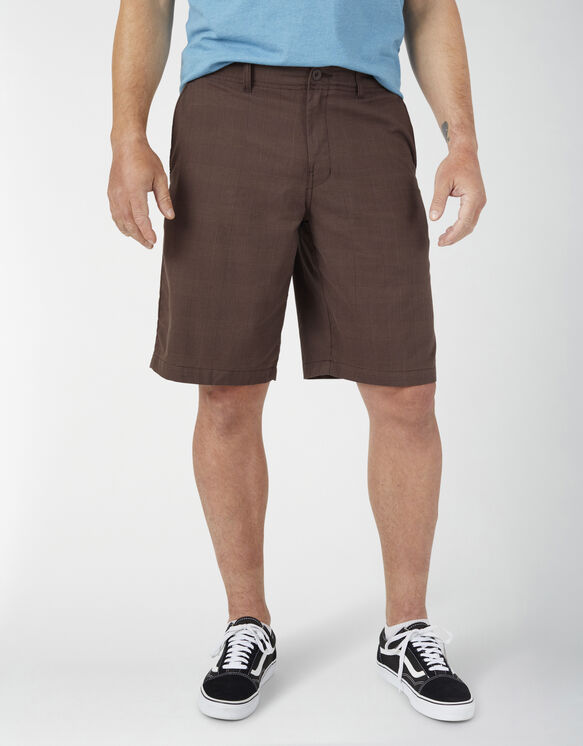 """Dickies X-Series 11"""" Active Waist Washed Yarn Dyed Shorts - Chocolate Brown Plaid (PCB)"""