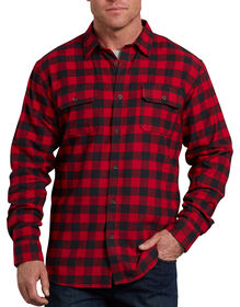 Relaxed Fit Icon Long Sleeve Flannel Shirt - Red Black Buffalo Plaid (WEK)