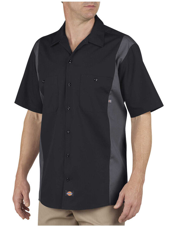 Industrial Colour Block Short Sleeve Shirt - Black Dark Gray Tone (BKCH)