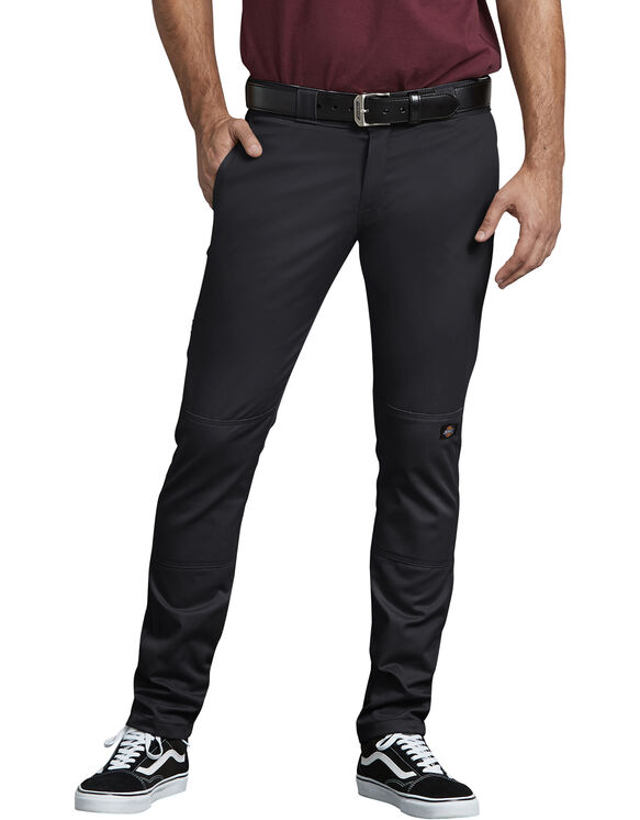 Flex Skinny Straight Fit Double Knee Work Pant - BLACK (BK)