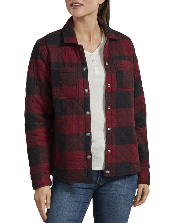 Women's Quilted Shirt Jacket - Black/Red Heather Buffalo (KEB)