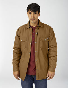 Flannel Lined Duck Shirt Jacket with Hydroshield - Brown Duck (BD)