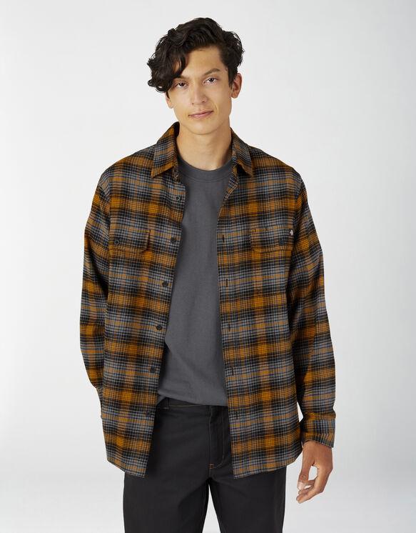 Regular Fit Flex Flannel Shirt - Autumn Gold Gray Plaid (APA)