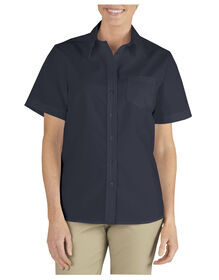 Women's Stretch Poplin Short Sleeve Shirt - Dark Navy (DN)