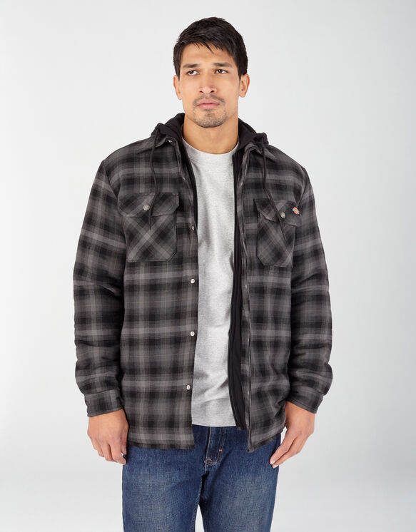 Fleece Hooded Flannel Shirt Jacket with Hydroshield - Black Ombre Plaid (AP1)