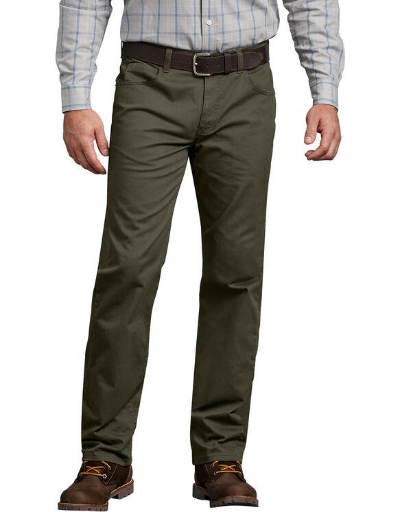 Pantalon 5 poches FLEX, coupe standard, jambe droite - Moss Green (RMS)
