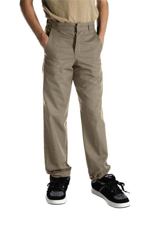 Adult Sized Classic Fit Straight Leg Flat Front Pants - Desert Khaki (DS)