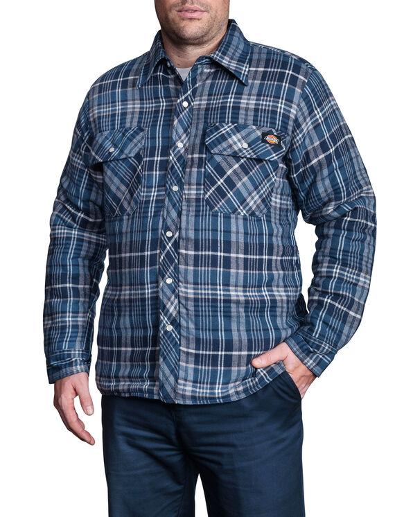 Quilted Snap Front Plaid Shirt - D18005 K PLAID 001 ASH BLUE/GR (CF4)
