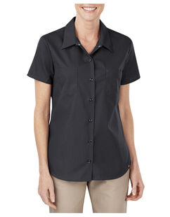 Women's Industrial Short Sleeve Work Shirt - Black (BK)