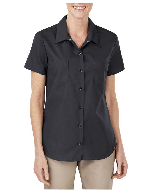 Women's Industrial Short Sleeve Work Shirt - Black (BK)