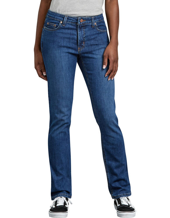 Women's Perfect Shape Straight Leg Stretch Denim Jeans - Stonewashed Indigo Blue (SNB)