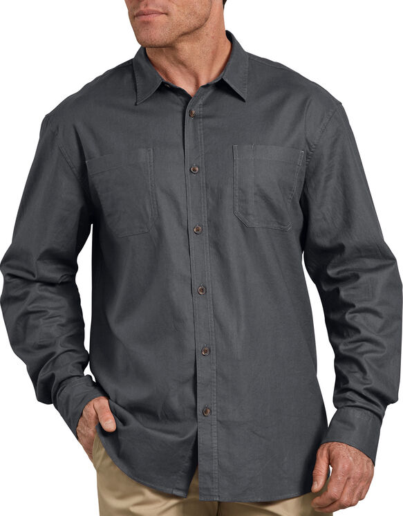 Relaxed Fit Icon Long Sleeve Solid Shirt - Stonewashed Charcoal Gray (SCH)