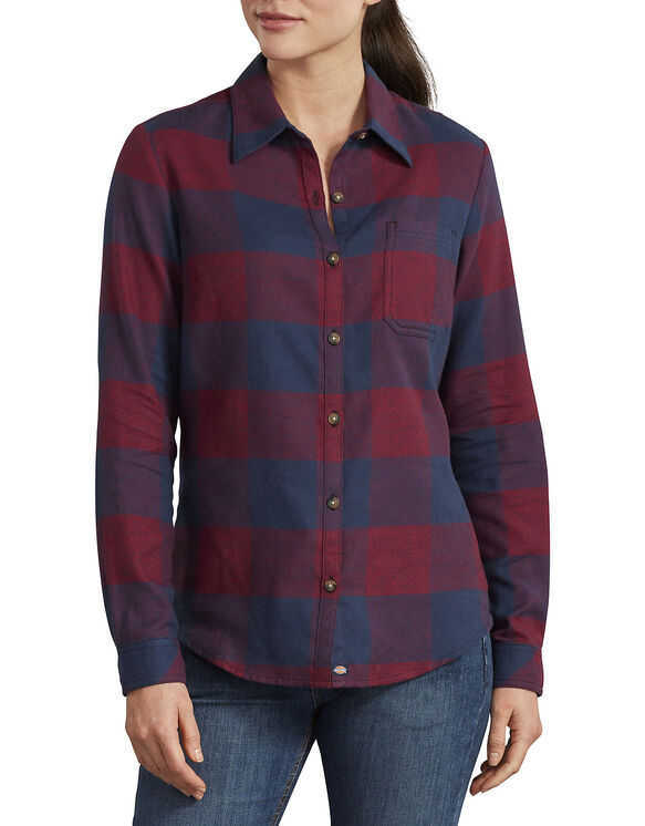 Chemise en flanelle à motif tartan pour femmes - Navy English Red Heather Plaid (VRB)